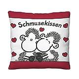 Sheepworld 43292 kleines Plüsch-Kissen mit Spruch Schmusekissen, 25 cm x 25 cm, Bunt