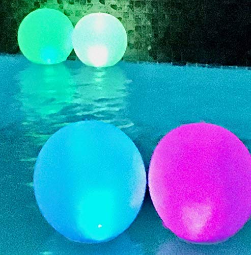 Solar Floating Pool Light |14 Inch Inflatable Globe | Pump Included | Glow Globe |Waterproof| Hangable Lamp | 4 Color Change Cycle | In/Outdoor Lighting | Illuminate Backyard & Garden | 4-PACK & PUMP
