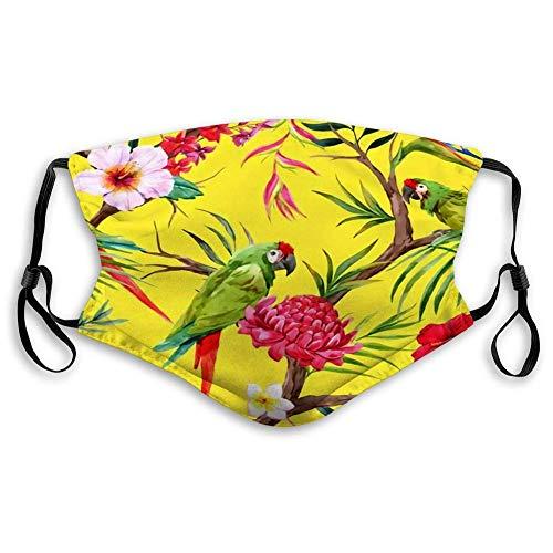 HUIDE acuarela flores tropicales, cara Scarf, protección contra el polvo, unisex, decoración facial
