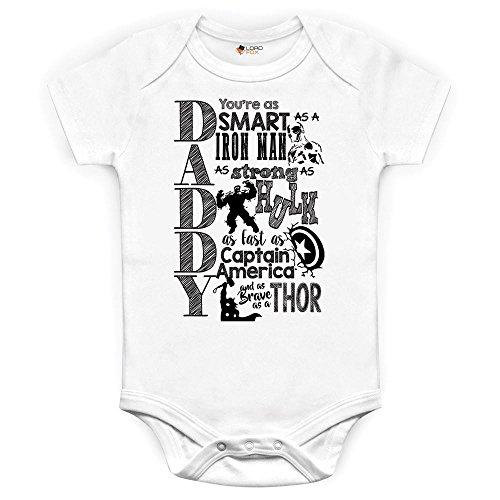 0-3 Meses Marvel Comics Daddy Baby Grow Babysuit Onesie Iron Man Hulk Capitán América Thor