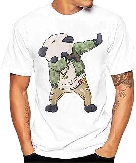 GDJGTA Mens Tops Summer Evil Smile Face Printed Round-Collar Comfortable T-Shirt Top