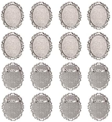 PandaHall 10pcs Antique Silver Oval Alloy Tray Vintage Brooch Cabochon Bezel Settings with Iron product image