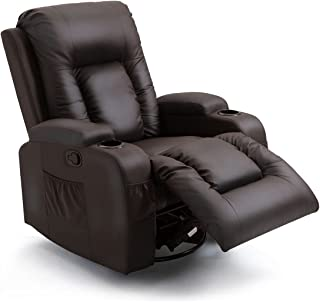 Recliner Massage Chair PU Leather Sofa Rocking Armchair Heated Seat 360°Swivel Brown