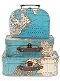 Jewelkeeper - Maletas Decorativas de cartón, Juego de 3 - Baúl para Juguetes para cumpleaños, Bodas, guarderías, decoración de Oficina, vitrinas y Fotos - Diseño de Mapa Mundial Antiguo