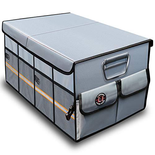 トランク 収納 LIBZAKI 車用収納ボックス 大容量 折り畳み式 カー用品 便利グッズ ラゲッジルーム 収納 (グレー)
