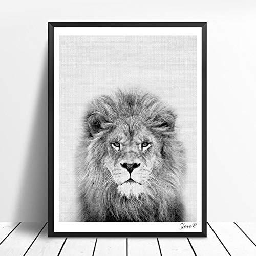 Nordic schwarz-weiß Poster und Drucke Wandbilder Leinwand Gemälde Tierbilder Wohnzimmer skandinavischen Elefanten Hauptdekoration rahmenlose Malerei 60x80cm