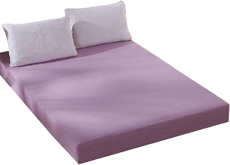 ZHAOHUI Mattress Predector Cotton Hypoallergenic Anti-mite Breathable Double Layer Soft Skin-Friendly Non-Slip Noiseless, 3 colors (color   Purple, Size   150X200cm)