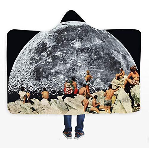 PANDAWDD knuffeldeken, woondeken, moderne maan en vakantie, grote hoeveelheid, heren, dames, 3D, grappig, Kerstmis, draagbare deken, fleecedeken, knuffeldeken met capuchon, voor volwassenen, 150 x 200 cm
