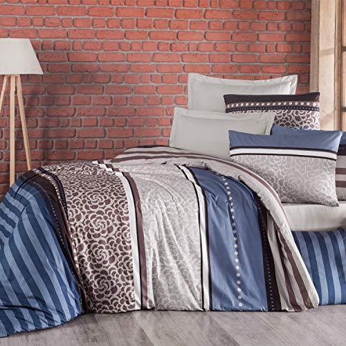 Valuax Bettwäsche Set 200x220 cm 3-teilig Renforcé Baumwolle (1 Bettbezug 200x220 cm und 2 Kissenbezug 80x80 cm) mit Reißverschluss Bett-Garnitur in den Farben Blau, Braun und Creme