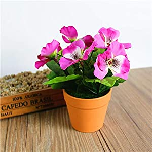Artificial and Dried Flower Artificial Silk Flower Pansy Bonsai Simulates Plant with Plastic Potted Wedding Party Home Decor