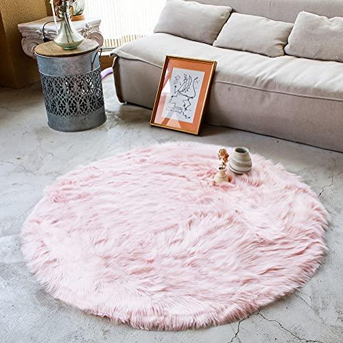 AOGU Soft Faux Fur Round Area Rug Indoor Soft Fluffy Bedroom Floor Sofa Living Room 4 x 4 Feet Pink