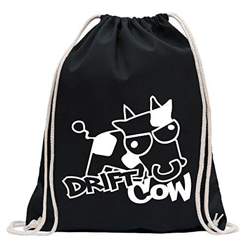 Kiwistar - Drift Cow sauer böse Kuh Turnbeutel Fun Rucksack Sport Beutel Gymsack Baumwolle mit Ziehgurt