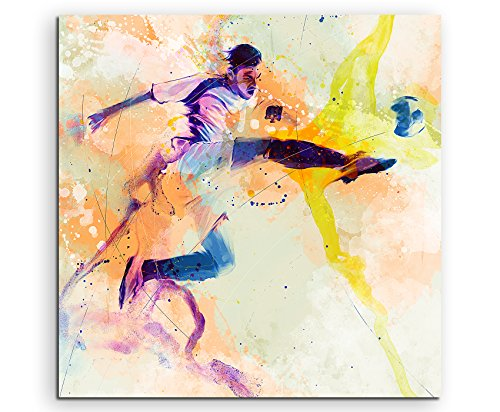 Fußball I 60x60cm Wandbild SPORTBILD Aquarell Art tolle Farben von Paul Sinus