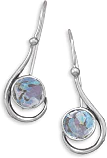 Ancient Roman Glass Earrings Small Handcrafted Sterling Silver