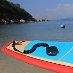 """Abahub Premium Coiled SUP Leash, Stand-up Paddleboard Legrope, 10 feet 7 mm Thick, Black/Blue/Clear/Red/Green/Orange… 13 STRONG and SAFE: This leash is made of Super Strong 7 mm urethane cord, with molded-in double Stainless Steel swivels, plus a triple wrap rail saver. COMFORTABLE AND EASY to USE: Made of elastic polyurethane. High Density Neoprene padded 1.5"""" Ankle Cuff has an easy pull tab with a hidden key pocket. DURABLE: Connection hardware made of durable stainless steel, which can be able to resist the sea water corrosion for a very long time"""