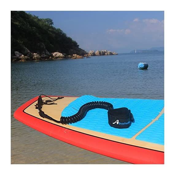 """Abahub Premium Coiled SUP Leash, Stand-up Paddleboard Legrope, 10 feet 7 mm Thick, Black/Blue/Clear/Red/Green/Orange… 5 STRONG and SAFE: This leash is made of Super Strong 7 mm urethane cord, with molded-in double Stainless Steel swivels, plus a triple wrap rail saver. COMFORTABLE AND EASY to USE: Made of elastic polyurethane. High Density Neoprene padded 1.5"""" Ankle Cuff has an easy pull tab with a hidden key pocket. DURABLE: Connection hardware made of durable stainless steel, which can be able to resist the sea water corrosion for a very long time"""
