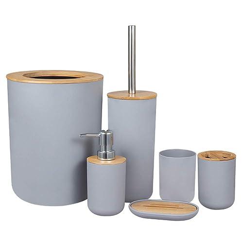 ZEENEEK Bathroom Accessories Set, 6pcs Bathroom Accessories Toothbrush Holder, Toothbrush Cup, Soap Dispenser, Soap Dish, Toilet Brush Holder,Trash Can, for Home, Apartment, Dormitory etc (Grey)