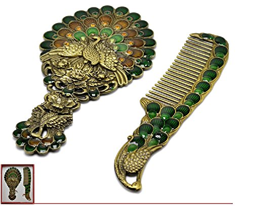 Zfggd De Style européen Petit Miroir Peigne Retro Portable Poignée de Miroir de Maquillage (Color : Bronze)