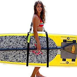 SUP-Now Paddle Board Carrier/Storage Sling 15 ADJUSTS MORE THAN OTHER STRAPS: Works great for paddleboarders of all heights and fits all paddleboards. Whether you are 6'5 with a large paddleboard or you are 4'3 with a small surfboard, our strap will work for you! TRIPLE PADDED SHOULDER PAD: Our shoulder pad is made from soft and durable NEOPRENE for maximum comfort. The idea of these straps is to carry the weight of your board on your shoulder. We put a lot of time and effort making our shoulder pad FAR SUPERIOR to others on the market. REMOVABLE DRAWSTRING BAG: Carry your water bottle, sunscreen or other personal items.