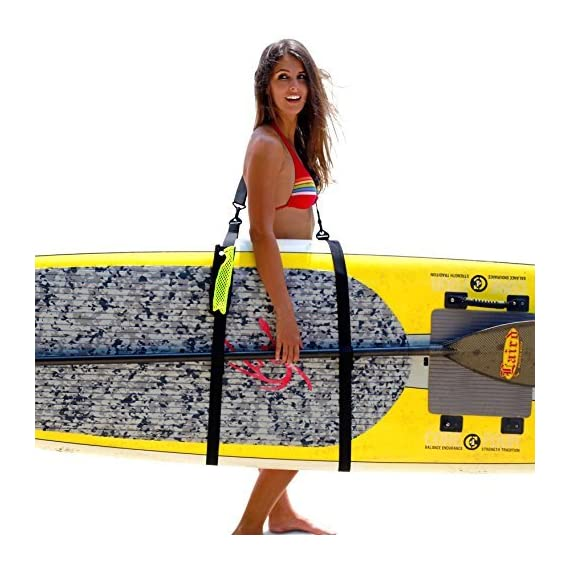 SUP-Now Paddle Board Carrier/Storage Sling 1 ADJUSTS MORE THAN OTHER STRAPS: Works great for paddleboarders of all heights and fits all paddleboards. Whether you are 6'5 with a large paddleboard or you are 4'3 with a small surfboard, our strap will work for you! TRIPLE PADDED SHOULDER PAD: Our shoulder pad is made from soft and durable NEOPRENE for maximum comfort. The idea of these straps is to carry the weight of your board on your shoulder. We put a lot of time and effort making our shoulder pad FAR SUPERIOR to others on the market. REMOVABLE DRAWSTRING BAG: Carry your water bottle, sunscreen or other personal items.