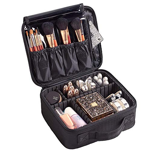trucco cosmetici Storage Case,Portable Travel makeup bag mini makeup Train case con divisori regolabili trousse da toilette organizer portautensili con divisori regolabil