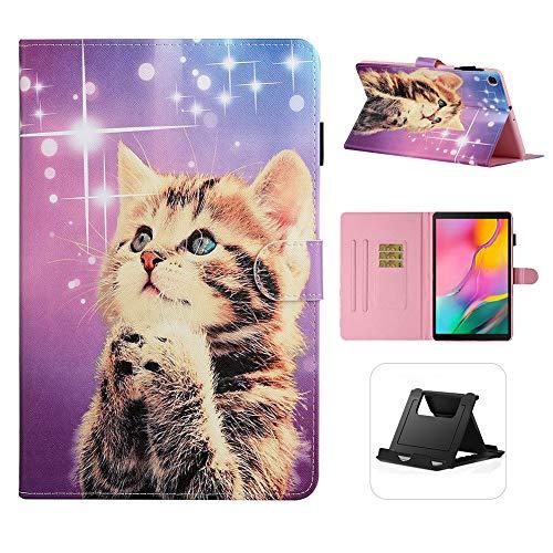 Shinyzone Flip Leder Hülle für Samsung Galaxy Tab A 10.1 Zoll T510,Galaxis Katze Muster Dünn und Leicht Schutzhülle Kartensteckplätze mit Magnetverschluss Multi Angle Einstellbar Standfunktion