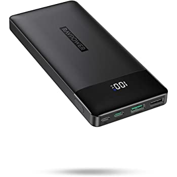 Portable Charger, PD 3.0 15000mAh Power Bank, RAVPower 30W High-Speed Tri-Output with LED Display, Ultra Compact Phone Charger Compatible with iPhone Xs X 8 7 6 Samsung Galaxy S9 Note 9 iPad Tablet