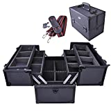 AW Makeup Train Case Pro Adjustable 6 Trays Cosmetic Case Storage Organizer Box w/Lock Compartments 14Inch Large Black