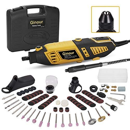 Mini amoladora eléctrica, Ginour Kit de herramientas rotatorias 170W Multifunción con 109 accesorios y 7 Velocidad Variable para DIY trabajos de cortar/lijar/grabar/limpiar/pulir