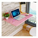 FFYN Folding Dining Table, Wall Mounted Wood Desk, Stable Sturdy Construction, Easy to Install, Wall Desks for Small Spaces, 80cm×50cm (Color : Pink, Size : 80cm×50cm)