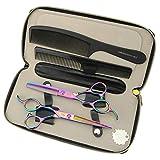 JIESENYU Japón 440c acero 15,24 cm color mano izquierda tijeras de pelo profesional herramientas de peluquería tijeras de corte y adelgazamiento juego (juego)