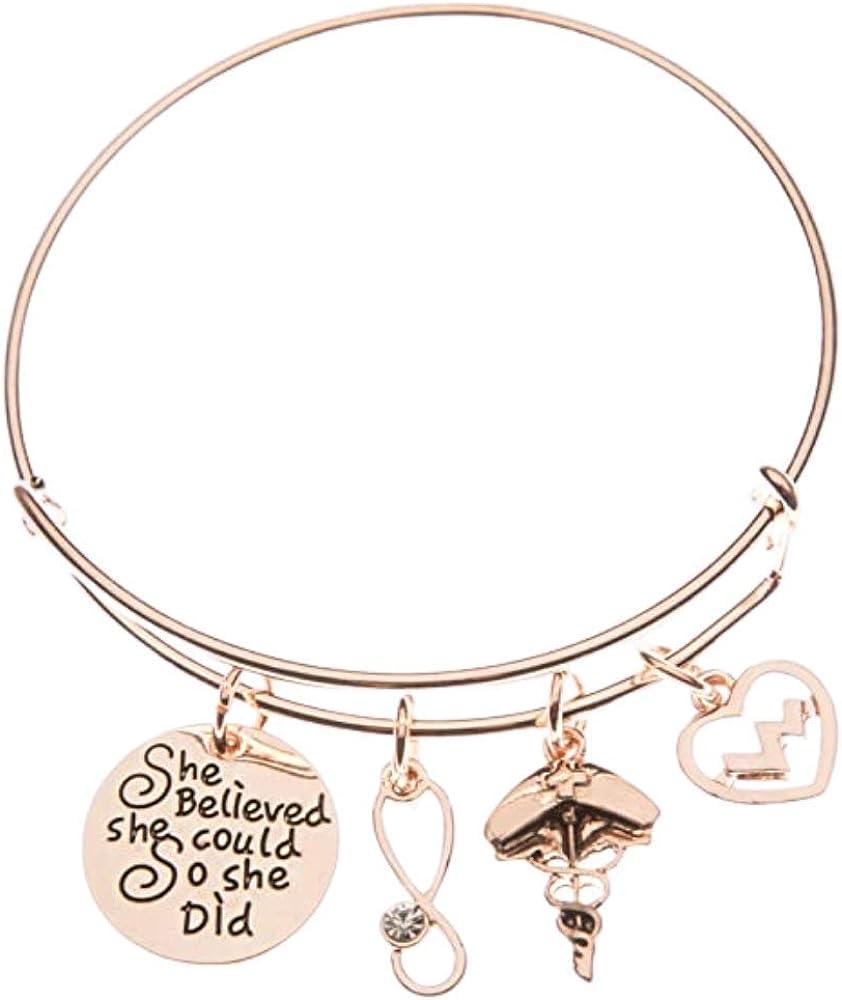 Nurse Bracelet, Rose Gold Nurse Charm Bracelet, She Believed She Could So She Did Nurse Jewelry, Nurse Gifts for Women