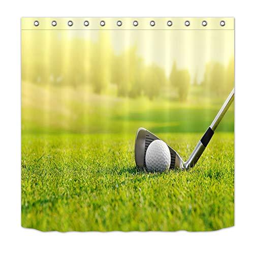 ZZZdz Golf E golfballen Sull'Erba douchegordijn, 180 x 180 cm, 12 haken, waterbestendig, gemakkelijk te reinigen.