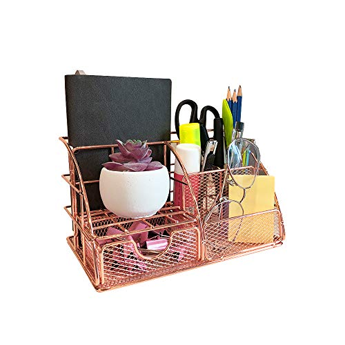 kiuetsa Rose Gold Desk Accessories Organizer with Drawer Mail File Tray, Small Mesh Office Computer Desk Supplies Pencil Pen Holders for Women, School, Office, Home 8.7' X 5.5' X 5.1'