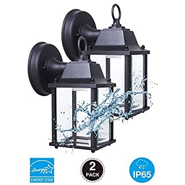 CORAMDEO 2-Pack Outdoor LED Wall Lantern, Wall Sconce 9.5W Replace 75W Traditional Lighting Fixtures, 800 Lumen, Water-Proof, Aluminum Housing Plus Glass, ETL and Energy Star Certified