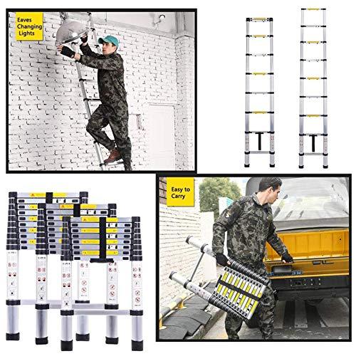 12.5(3.8m) Telescoping Ladder Climb Home Builders Attic Loft Work Place Extendable Collapsible Lightweight, Folding Extending Portable 13 Steps Heavy Duty Aluminium Extension Ladders, 150kg Capacity