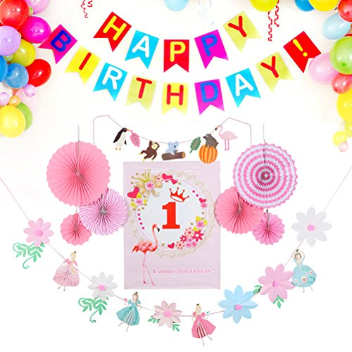 BESTOYARD Happy Birthday Paper Fans Bunting Banners Hanging Decorations Garlands Party Favors Supplies for Kids (Girls 1 Years Old)