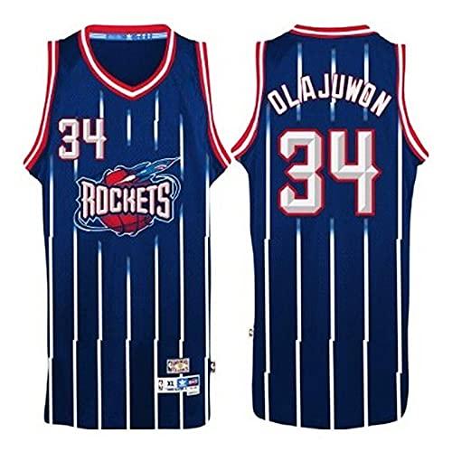KKSY Camisetas de Hombre Olajuwon # 34 Houston Rockets Camisetas de Baloncesto Chaleco Transpirable Retro,B,L