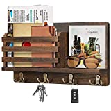 Key Holder & Mail Organizer, Wall Mount Key Hook & Mail Sorter, Wooden Rustic Wall Decorative Key Rack with 4 Double Hooks & A Floating Shelf for Entryway Mudroom Farmhouse Office Hallway Kitchen