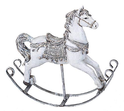Formano Schaukelpferd Nostalgie Dekofigur Pferdefigur weiß Silber handbemalt 25 cm Weihnachten...