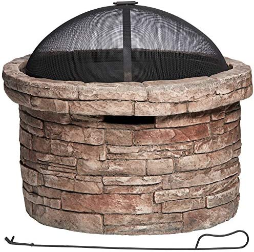 John Timberland Breckenridge 26 W Faux Stone Wood Burning Outdoor Fire Pit product image