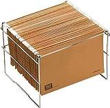 OP Solutions Archivador- soporte carpetas colgantes tamaño folio, plegable, en metal cromado, 360 x 398 x300 mm