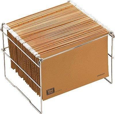 OP Solutions Archivador- soporte carpetas colgantes tamaño folio, plegable, en metal cromado,...