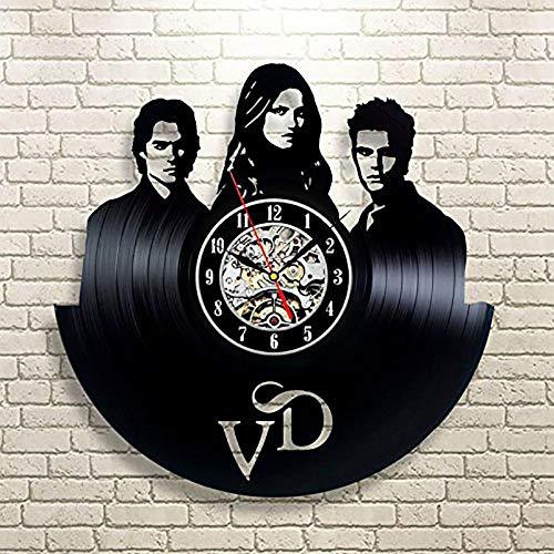 Yvonnezhang Vinyl record creatieve wandklok geschenk klasse vinyl vampier dagboek kunst moderne familie retro decoratie