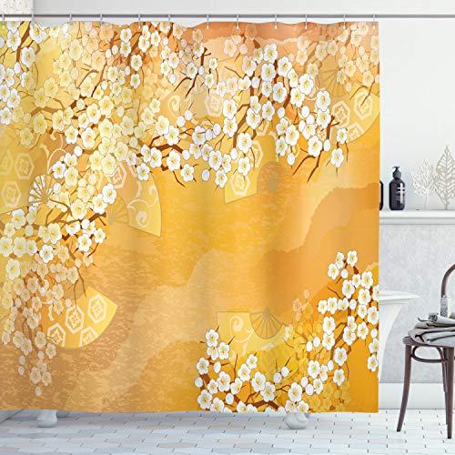 ABAKUHAUS Asiatisch Duschvorhang, Cherry Blossom Sakura, Personenspezifisch Druck inkl.12 Haken Farbfest Dekorative mit Klaren Farben, 175 x 180 cm, Ringel Creme