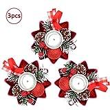Bibivisa 3X Weihnachten Kerzenhalter, Bereift Tannenzapfen Kerzenständer Dekorativ Rote Beeren Glitzer Ball, Christmas Kerzenlicht Weihnachtskerze Stehen für Weihnachten Tischdeko Advent Deko