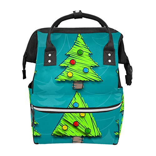 Green Cartoon Christmas Tree School Backpack Large Capacity Mummy Bags Laptop Handbag Casual Travel Rucksack Satchel for Women Men Adult Teen Children