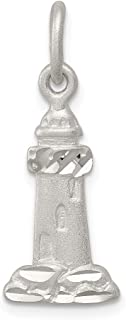 925 Sterling Silver Lighthouse Pendant Charm Necklace Sea Shore Man Fine Jewelry For Dad Mens For Him