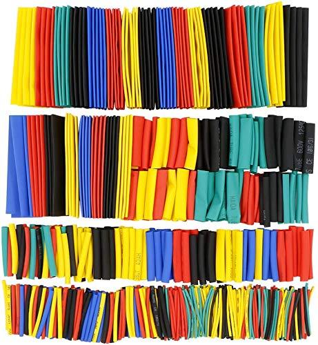 Rusee 656 Piezas Surtido de Tubo Termorretráctil, 2: 1 Poliolefina Tubo Termorretráctil, 8 Tamaños, 5 Colores, Envoltura Manguito de Cable Alambre Funda Retráctil de Poliolefina Libre de Halógeno