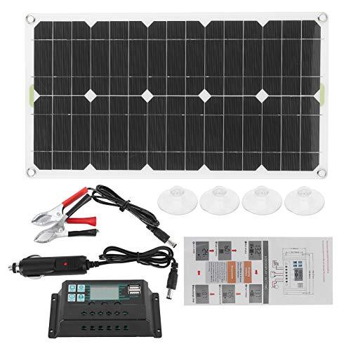 Panel solar portátil de 180 vatios, almohadilla de cargador solar, salida USB monocristalina, kit de cargador de panel solar impermeable para automóviles, motocicletas, barcos, marinos, caravanas, rem